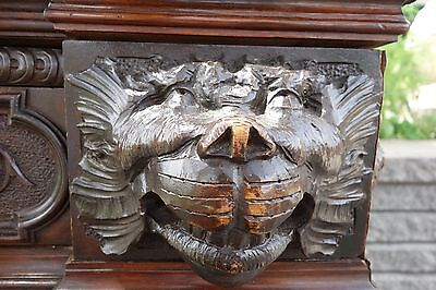 19C French Carved Gothic Fantasy Dolphin/Lion/Gargoyle/Griffin/Grotesque Desk