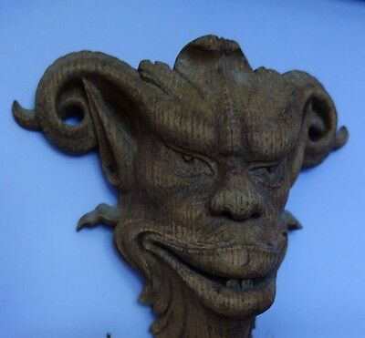 19C French Fantasy Carved Oak Mythological Horned Devil/Demon/Gargoyle Masks