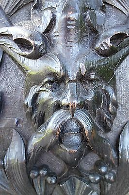 19C French Gothic Fantasy Myth Carved Oak Forest Horned Devil/Demon/Gargoyle/Pan
