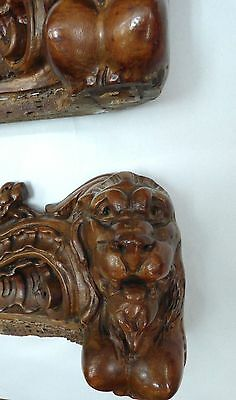 19C Gothic Fantasy Victorian Rococo Carved Cabinet Mount Winged Dragon/Lion