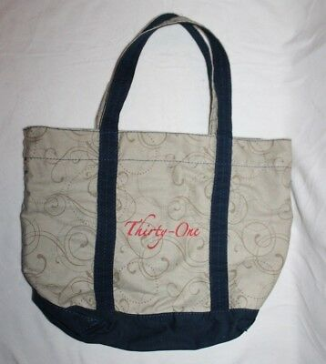 Thirty One Curlicue Purse Bag Tote Blue Brown 18x24 Diaper Bag Cute Embroidered