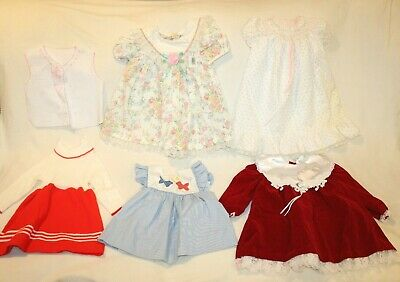 VINTAGE Lot of 6 Baby Girl 18 Month Dresses Clothes Lace Frilly Fashion Allison