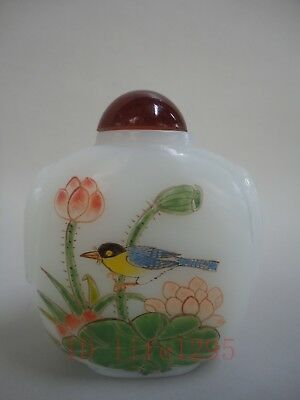 Collect China Ancient Glass Manual Painting Beautiful Flowers Bird Snuff Bottles