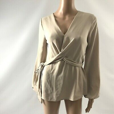 River Island Women's Blouse Shirt Belted Size 4 Cream Longsleeve Top Chiffon New