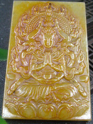 Chinese Antique Celadon Nephrite Hetian-Jade More-hand kuanyin Statues/Pendant