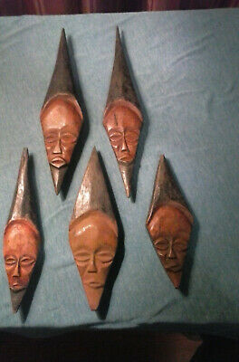Hand Carved Wooden Faces Maybe Antiques, Tribal, or other Collectible Pieces