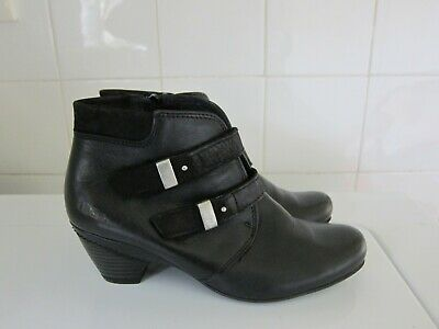 TAOS Alto Black Leather Twin Strap Zip Ankle Boots Bootie Heels - Size 37 / 6