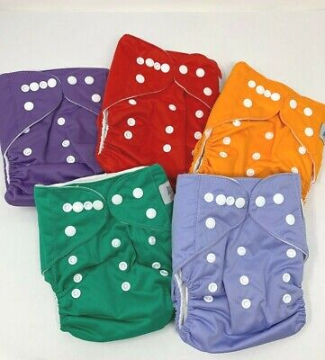 5 Cloth Diapers Reusable Washable Adjustable Microfiber Inserts Eco Friendly