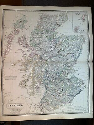 1855 Scotland Large Hand Coloured Map From Johnston's National Atlas