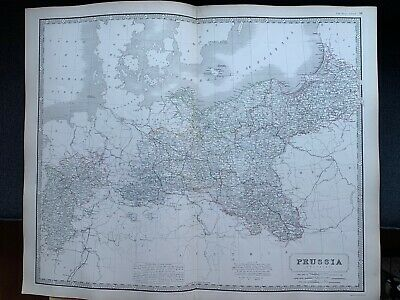 1855 Prussia  Large Hand Coloured Map From Johnston's National Atlas