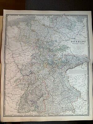 1855 Germany Large Hand Coloured Map From Johnston's National Atlas