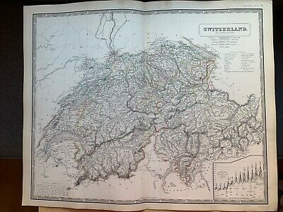 1855 Switzerland Large Hand Coloured Map From Johnston's National Atlas