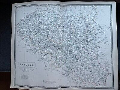 1855 Belgium Large Hand Coloured Map From Johnston's National Atlas