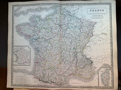1855 France  Large Hand Coloured Map From Johnston's National Atlas