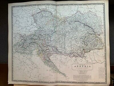 1855 Austria Hungary Large Hand Coloured Map From Johnston's National Atlas