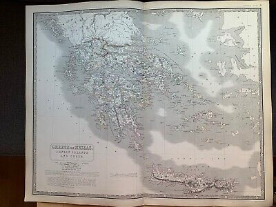1855 Greece Large Hand Coloured Map From Johnston's National Atlas