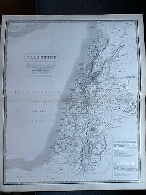 1855 Palestine Large Hand Coloured Map From Johnston's National Atlas