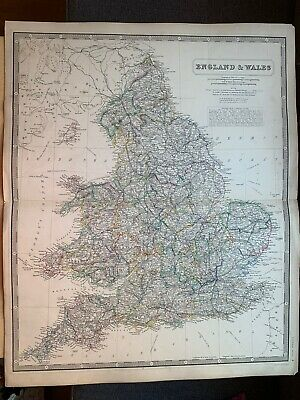 1855 England & Wales Large Hand Coloured Map From Johnston's National Atlas