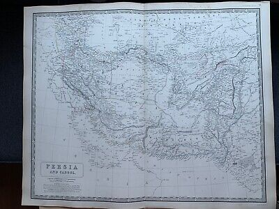 1855 Iran & Afghanistan Large Hand Coloured Map From Johnston's National Atlas