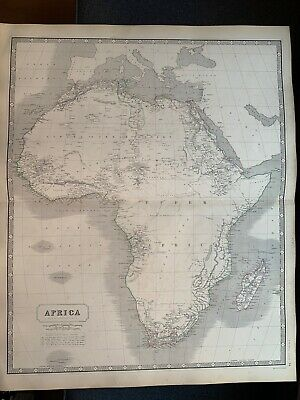 1855 Africa Large Hand Coloured Map From Johnston's National Atlas