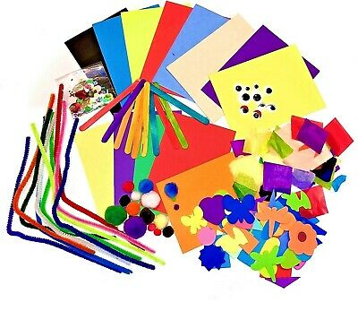 Kids Mini Arts & Craft Materials Set Childrens Foam Shapes Pom Foil Sequin