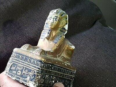 Extremely Rare Undated Egyptian Statue Of Sphinx On A Temple 702 Gr.167 Mm