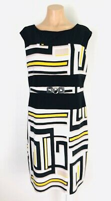 Joseph Ribkoff DRESS size Can/US 14 (Aust 16) Black Print Sleeveless Stretch