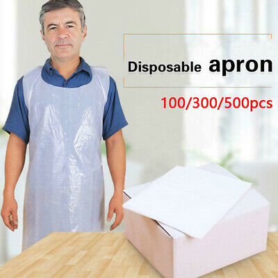 500X Disposable Apron Body Protection High Density Polythene Plastic White Clear