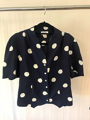 Genuine Vintage Navy Blouse Top 10 White Dots Button Up Great Condition