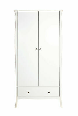 Steens Baroque White Painted 2 Door 1 Drawer Wardrobe French Style Furniture