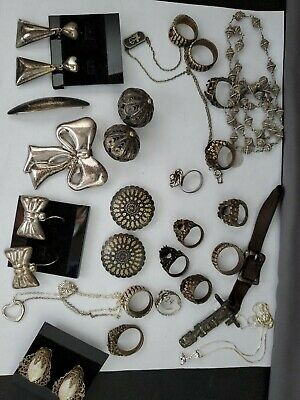 Large lot of vintage Sterling silver jewelry 230grams