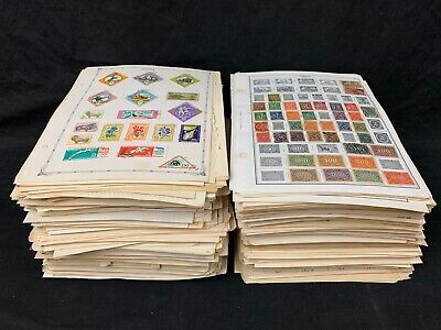 WW Old Album Pages Stamps Dads Estate 100's Pages1880s-1970s Huge Lot Unchecked