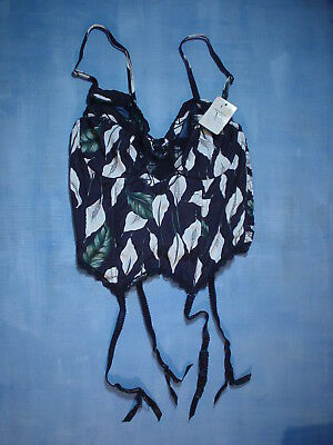 Vintage Valentino 2701 Bustier with Sheer Trim Size 34B in a Calla Lily Print