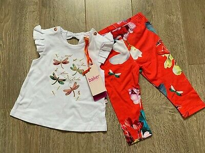 New Ted Baker Baby Girls Outfit Top Leggings Set Size 3-6 Months