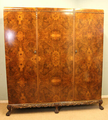 Antique Burr Walnut Three Door Combination Compactum Wardrobe