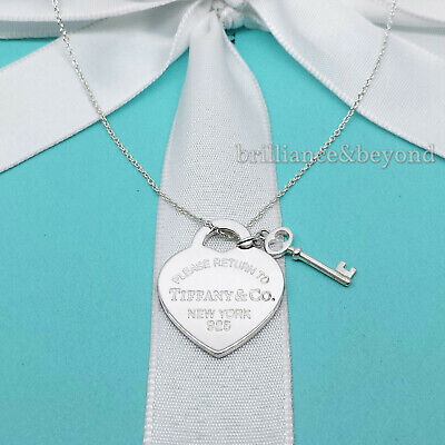 Return To Tiffany Co Heart Key Pendant Chain Necklace 925 Sterling Silver 155 00 Picclick