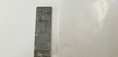 "0 .126"" Webber Starrett  Rectangle Steel Gage Gauge Block."