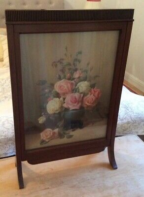 Edwardian mahogany Wood Fire Screen with Hand Painted Rose bowl under glass