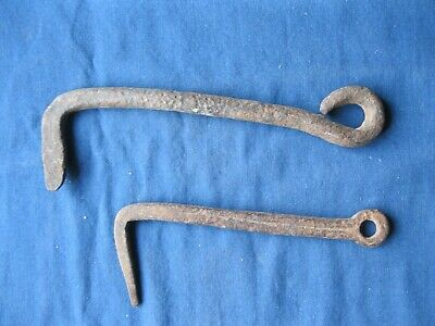 Two Vintage Hand Forged Gate Hooks