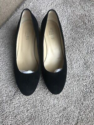 """""""Hobbs"""" 100% Full Suede Leather Court Low Heel Wedge Shoes Size UK 5"""