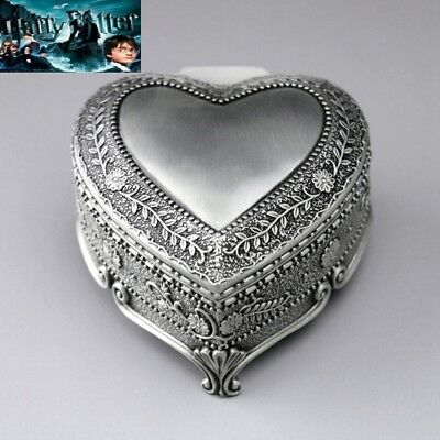 VINTAGE TIN ALLOY HEART SHAPE MUSIC BOX ♫ Harry Potter Hedwigs Theme ♫
