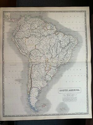 1855 South America Large Hand Coloured Map From Johnston's National Atlas