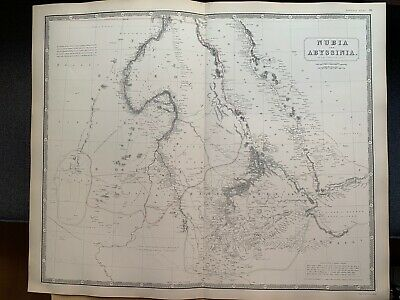 1855 Nubia & Abyssinia Large Hand Coloured Map From Johnston's National Atlas
