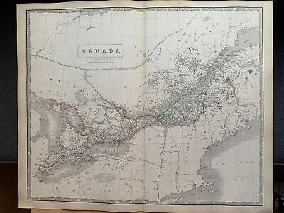 1855 Canada Large Hand Coloured Map From Johnston's National Atlas