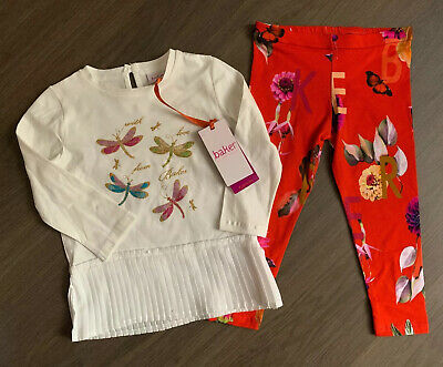 New Ted Baker Baby Girls 2pcs Outfit Set Top And Leggings Size 18-24 Months