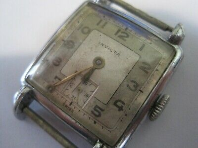 ANTIQUE 1930s INVICTA GENTLEMANS MECHANICAL TANK WATCH - SPARES OR REPAIRS