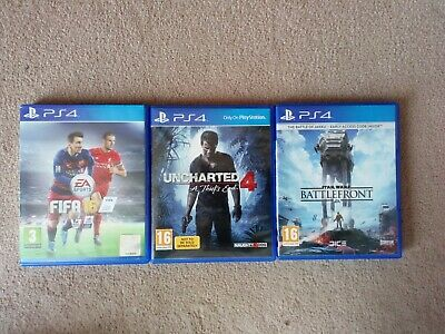 Ps4 games bundle uncharted 4, star wars battlefront and fifa 16 for PlayStation