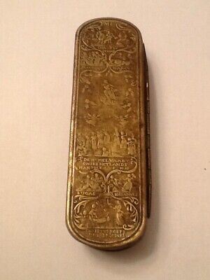 Antique 18Th Century Dutch Brass Snuff Tobacco Box Engraved New Testament Images