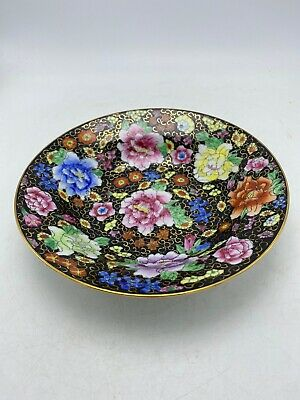 Chinese Zhongguo Zhi Zao Porcelain Black Floral 24K Gold Trim Soup Bowl