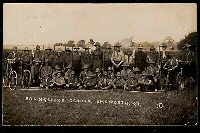 1911 Basingstoke Boy Scouts At Emsworth Real Photo Postcard Hampshire Bicycles